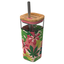 VASO CRISTAL CON PAJITA PINK JUNGLE