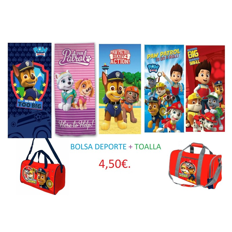 BOLSA DEPORTE + TOALLA PAW PATROL