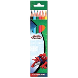 6 LÁPICES COLORES SPIDERMAN