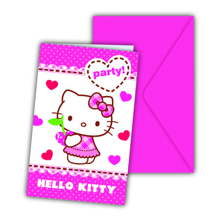PACK 6 INVITACIONES C/SOBRE HELLO KITTY HEARTS