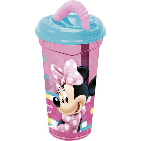 VASO CAÑA TRANSPARENTE 380ml. MINNIE MOUSE