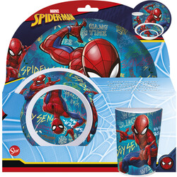 SET MELAMINA SIN ORLA 3 PCS. SPIDERMAN GRAFFITI